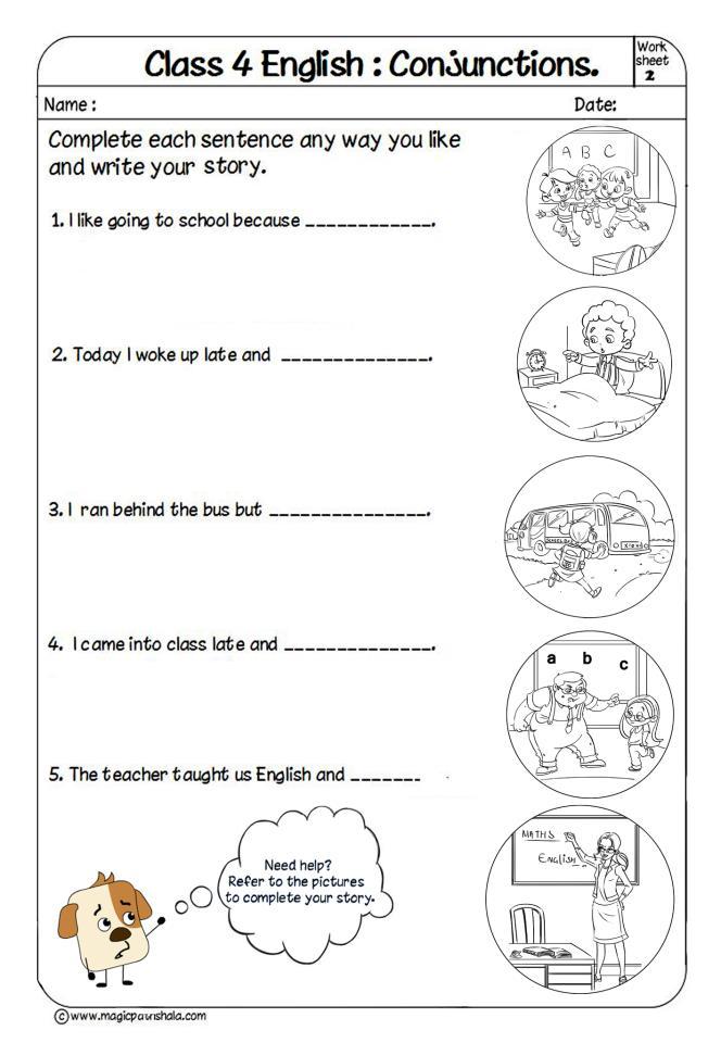 Printable Worksheets conjunctions worksheets for kids : Conjunction for Kids   Conjunction Examples   Conjunctions Worksheets