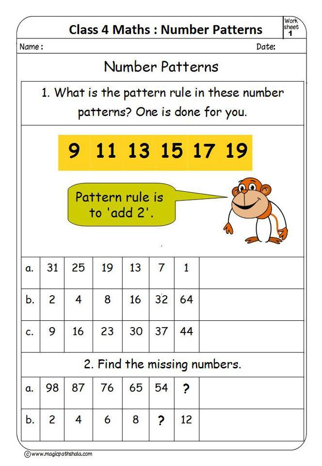 Pattern Worksheets math number pattern worksheets : Numbers Pattern for Class 4 | Number Patterns Worksheets