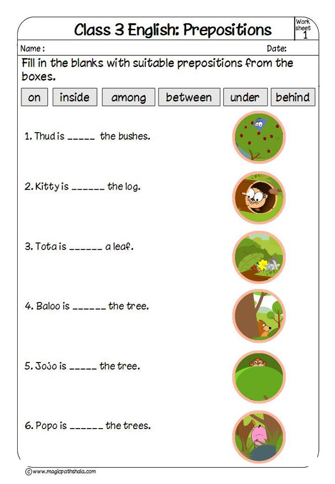 Prepositions for Kids | Prepositions Exercises | Prepositions ...