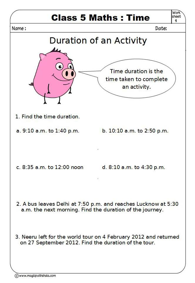 Time for Class 5 | Time Worksheets | Time Games